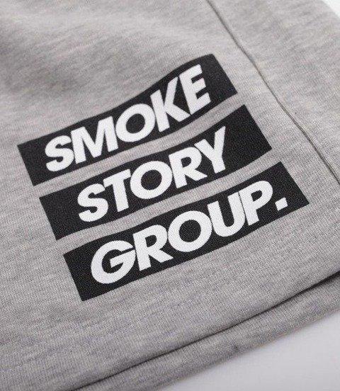SmokeStory-SMG Three Lines Krótkie Spodnie Bawełniane Jasny Szary