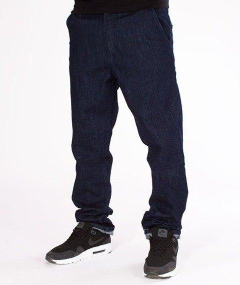 SmokeStory-Stretch Skinny Jeans Guzik Spodnie Dark