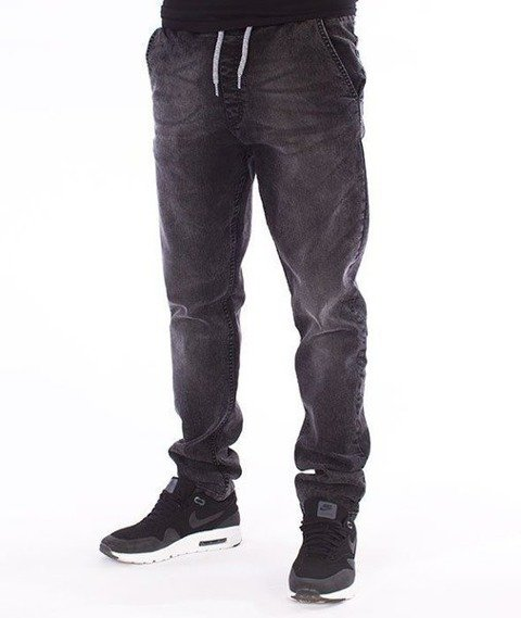 SmokeStory-Stretch Straight Fit Jeans Guma Spodnie Szary Jeans