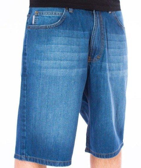 SmokeStory-Szorty Jeans Spodnie Krótkie Wycierane Light Blue