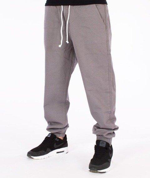 SmokeStory-Tkanina Regular Jogger Spodnie Szare