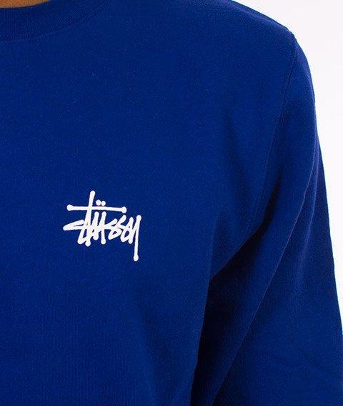 Stussy-Basic Stussy Crewneck Bluza Dark Blue