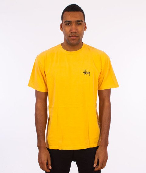 Stussy-Basic Stussy Pig. Dyed T-Shirt Faded Yellow