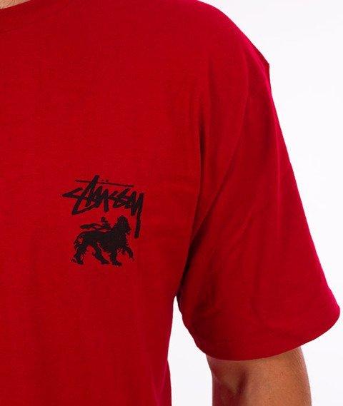 Stussy-Stock Lion T-Shirt Dark Red