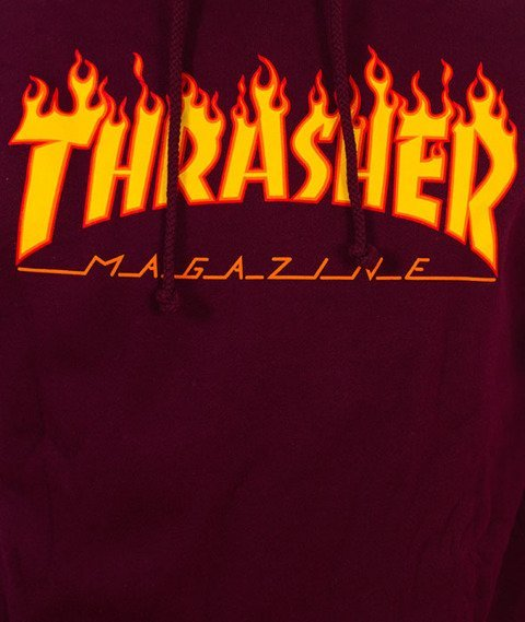 Thrasher-Flame Bluza Kaptur Maroon