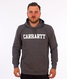 Carhartt WIP-Hooded College Sweat Bluza Kaptur Dark Grey Heather/White