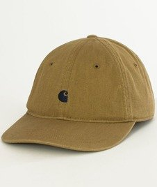 Carhartt WIP-Madison Logo Cap Snapback Twill Leather/Navy