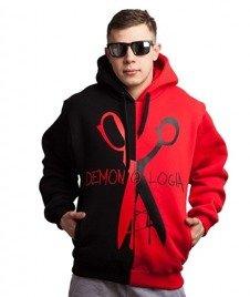 Demonologia-Nożyczki 2Tone Bluza Kaptur Czarna/Czerwona