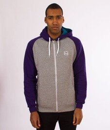 Iriedaily-Sweter De College Zip Hood Bluza Kaptur Rozpinana Dark Purple