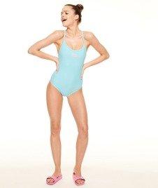 SmokeStory-Satin Bow Swimsuit Kostium Kąpielowy Błękit
